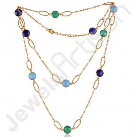 Green Onyx Necklace Blue Onyx Necklace Gold Vermeil Necklace