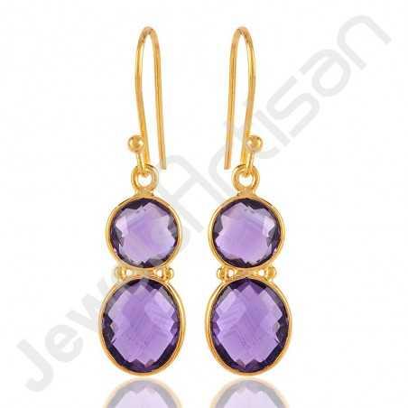 Amethyst Earrings Gold Vermeil Earrings 925 Solid Silver Earrings