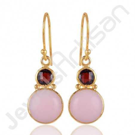 Pink Opal Earrings Gold Vermeil Earrings 925 Solid Silver Earrings