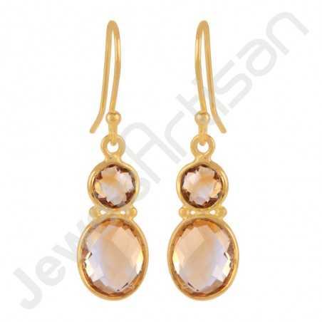Citrine Gemstone Earring with 18K Gold Vermeil Over Sterling Silver Dangle Earrings