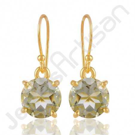 Prasioilite Earring Gold Vermeil Earring 925 Solid Silver Earrings