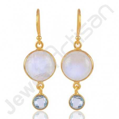 Rainbow Moonstone Earrings Sky Blue Topaz Earrings 925 Solid Silver Earrings