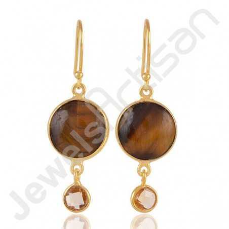 Tiger Eye Earrings Citrine Earrings 925 Solid Silver Earrings Gold vermeil Earrings