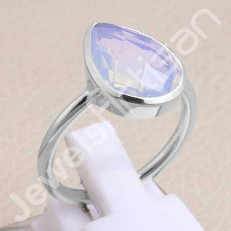 925 Sterling Silver Ring Opal Quartz Ring Classic Solitaire Ring