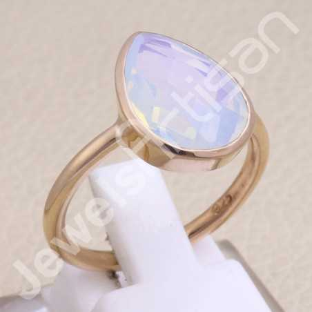 Opal Quartz Ring Rose Gold-Plated Ring 925 Sterling Silver Ring
