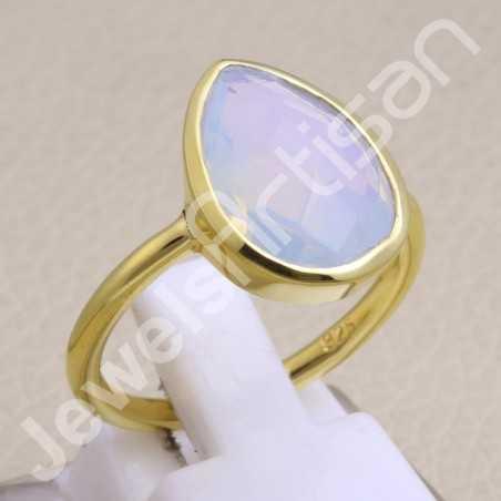 Gold Vermeil Ring Opal Quartz Ring 925 Sterling Silver Ring