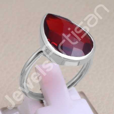 925 Sterling Silver Ring Red Quartz Ring Classic Solitaire Ring