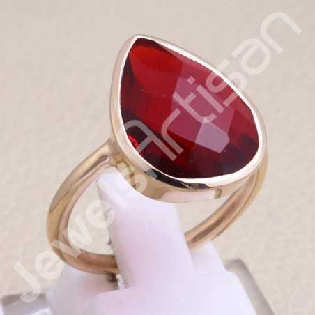 Rose Gold-Plated Ring Red Quartz Ring 925 Sterling Silver Ring