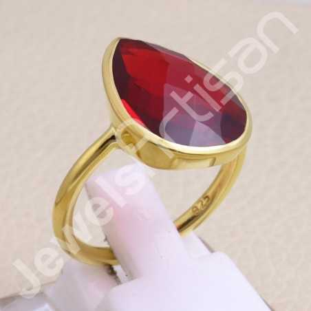 Red Quartz Ring Gold Vermeil Ring 925 Sterling Silver Ring