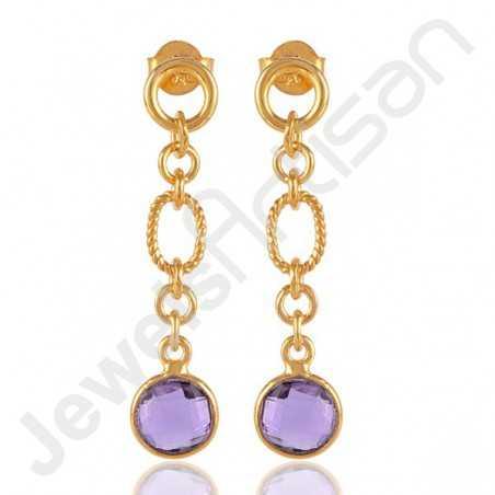 Amethyst Earrings 925 Solid Silver Earrings 18 K Gold-Plated Earrings