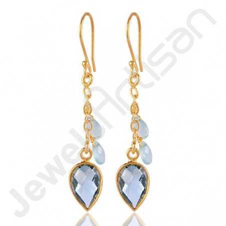 Sky Blue Topaz Earrings Gold Vermeil Earrings 925 Solid Silver Earrings