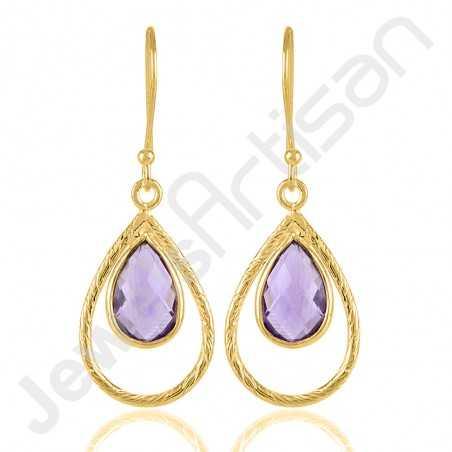 Gold Vermeil Earrings Purple Amethyst Earrings 925 Solid Silver Earrings