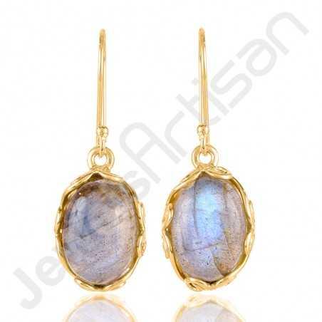 Labradorite Earrings Gold Vermeil Earrings 925 Solid Silver Earrings