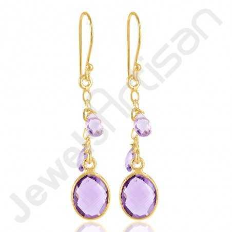 Amethyst Earrings 925 Solid Silver Earrings Gold Vermeil Earrings