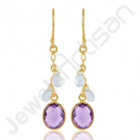 925 Solid Silver Earrings Amethyst Earrings Gold Vermeil Earrings