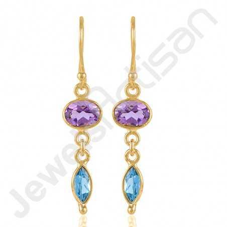 Swiss Blue Topaz Earrings Amethyst Earrings Gold Vermeil Earrings