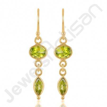 Peridot Earrings Gold Vermeil Earrings 925 Sterling Silver Earrings