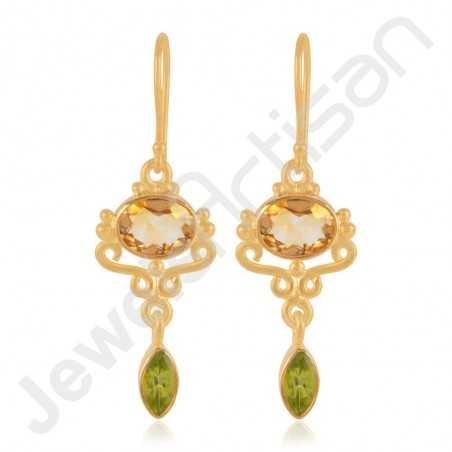 Citrine Earrings Peridot Earrings Gold Vermeil Earrings