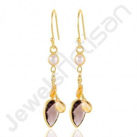 Smoky Quartz Earrings Pearl Earrings Gold Vermeil Earrings
