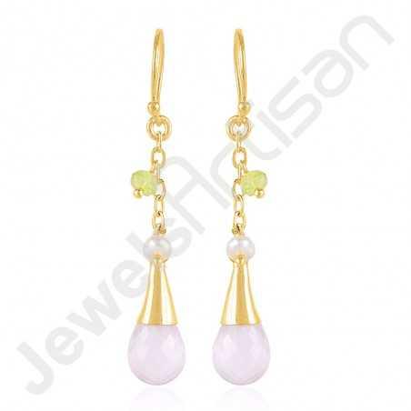 Rose Quartz Earrings Pearl Earrings Gold Vermeil Earrings