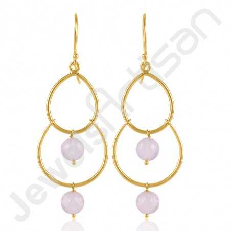 Rose Quartz Earrings Gold Vermeil Earrings 925 Solid Silver Earrings