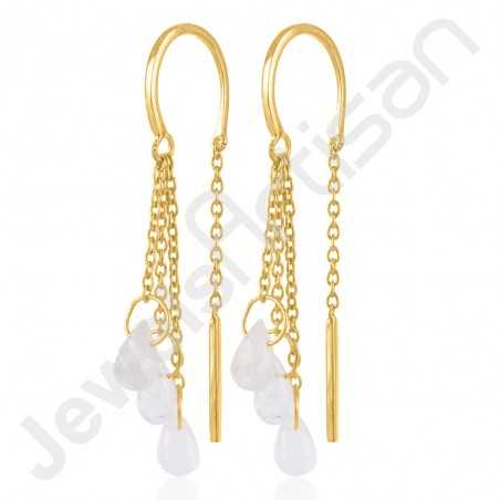 Rainbow Moonstone Earrings Gold Vermeil Earrings 925 Solid Silver Earrings