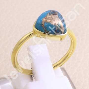 Gold Vermeil Ring Blue...