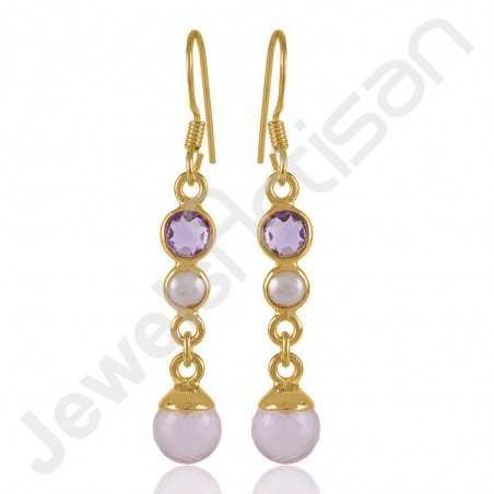Rose Quartz Earring Purple Amethyst Earrings 18 K Gold Plated Earring
