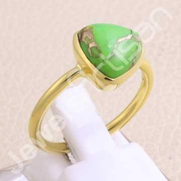 Gold Vermeil Ring Green...
