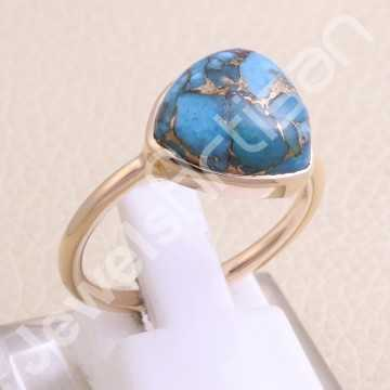 Rose Gold Plated Ring Blue...
