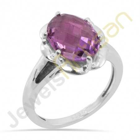 925 Sterling Silver Ring Amethyst Ring Prong Set Ring