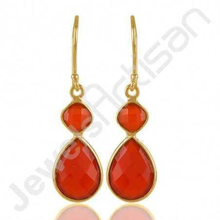 Red Onyx Earrings 925 Solid Silver Earrings Gold Vermeil Earrings