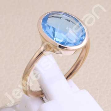 Rose Gold-Plated Ring Blue...