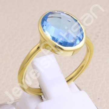 Blue Quartz Ring Gold...