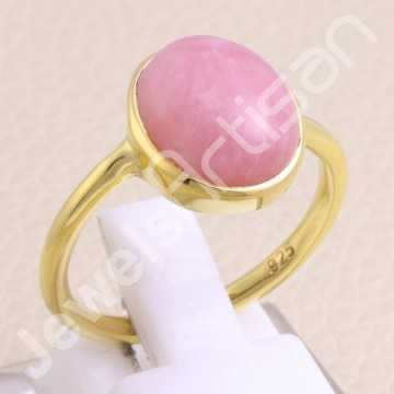 Gold Vermeil Ring Pink Opal...