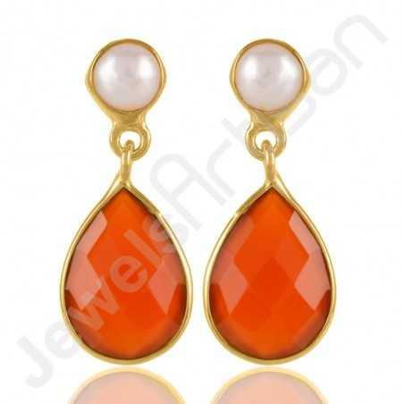 Red Onyx Earring Pearl Earring Gold Vermeil Earring