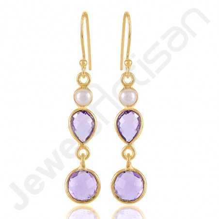 Amethyst Earring February Birthstone Earrings 18 K Gold-Plated Earring