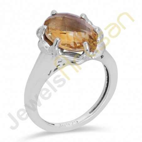 Citrine Ring Prong Set Ring 925 Sterling Silver Ring