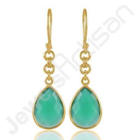 Green Onyx Earrings 925 Solid Silver Earrings 18 K Gold-Plated Earrings