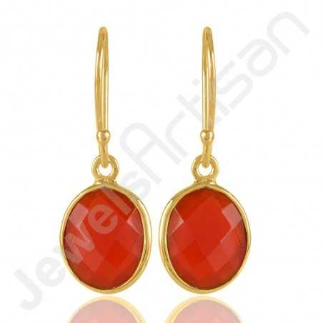 Red Onyx Earrings Gold Vermeil Earrings 925 Solid Silver Earrings