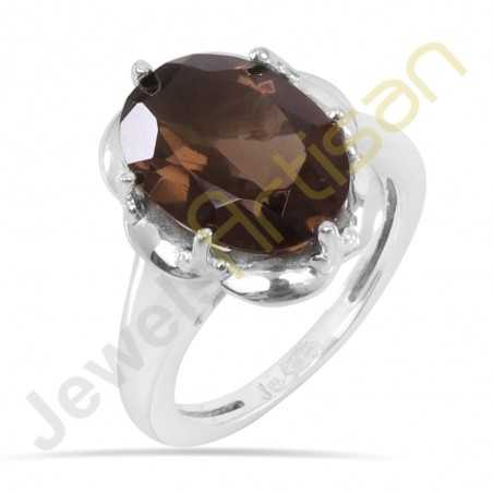 Smoky Quartz Ring 925 Sterling Silver Ring Handcrafted Ring