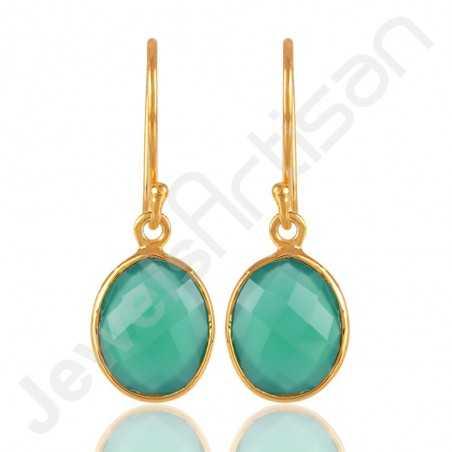 Green Onyx Earring Gold Vermeil Earring 925 Solid Silver Earring