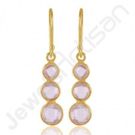 Rose Quartz Earrings Gold Vermeil Earrings 925 Sterling Silver Earrings