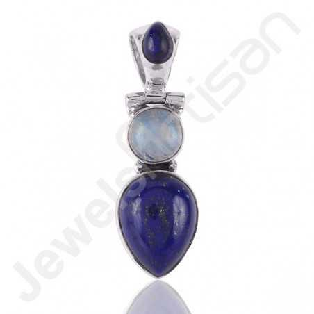 Lapis Lazuli and Rainbow Moonstone Three Stone Silver Pendant