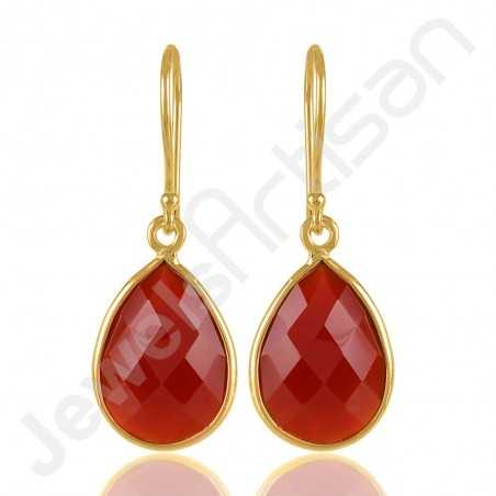 Red Onyx and Gold Plated 925 Silver Drop Earring