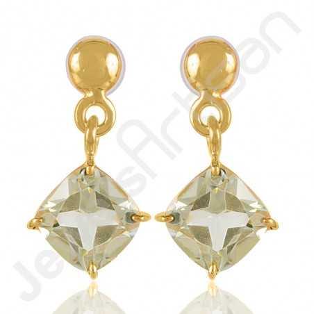 Green Amethyst Earrings 925 Solid Silver Earrings Gold Vermeil Earrings