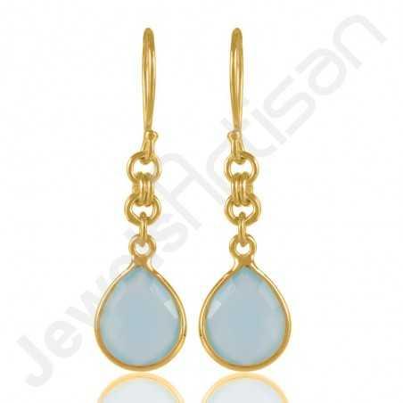 Aqua Chalcedony Dangle Earring Gold Plated Sterling Silver Drop Earring