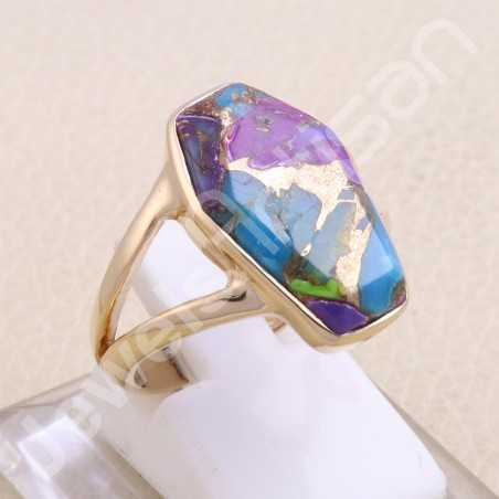Rose Gold Plated Ring Green Purple Copper Turquoise Ring 925 Sterling Silver Ring