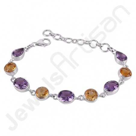 Amethyst Bracelet Citrine Bracelet 925 Sterling Silver Bracelet