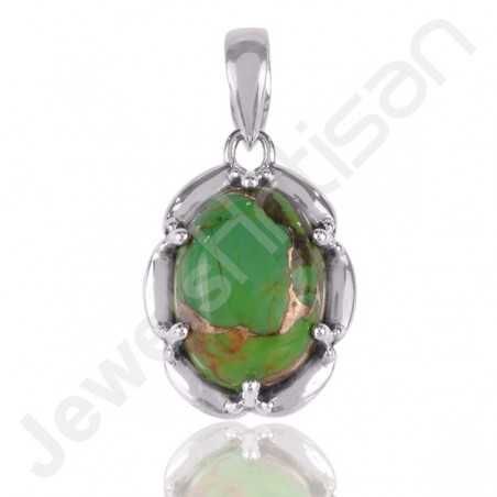 Green Copper Turquoise Pendant 925 Sterling Silver Pendant Kingsman Turquoise Pendant
